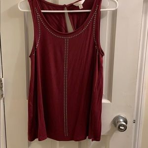 Charming Charlie Tops - Burgundy Design Tank - Small